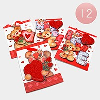 12 PCS - Pop glitter heart teddy bear gift bags