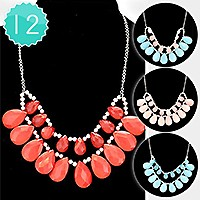 12 PCS - Double layer teardrop necklaces