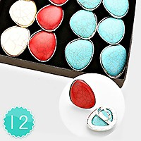 12 PCS - ASSORTED HOWLITE STONE ADJUSTABLE COCKTAIL RINGS