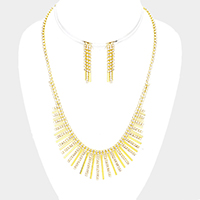 Pave Crystal Rhinestone Bar Metal Bar Fringe Necklace
