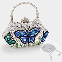 Crystal butterfly hard case evening clutch bag _ reduced price
