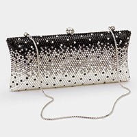 Ombre crystal hard case evening clutch bag _ reduced price