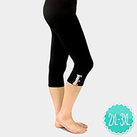 Lace button detail capri leggings