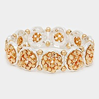 Metal bead cluster two tone stretch bracelet