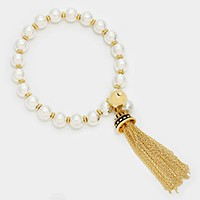 Metal chain tassel charm metallic bead stretch bracelet