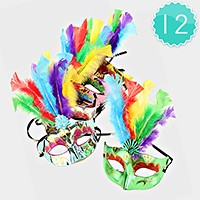 12 PCS - FEATHER ACCENTED VENETIAN MASQUERADE MASKS