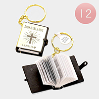 12 PCS - golden spanish la biblia key RINGS