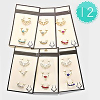 12 SETS - CRYSTAL ACCENTED NOSE RINGS