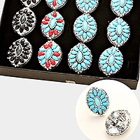 12 PCS - TURQUOISE EMBEDDED BOHO CHIC ADJUSTABLE COCKTAIL RINGS