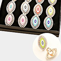 12 PCS - CRYSTAL ACCENTED EVIL EYE BOHO CHIC ADJUSTABLE COCKTAIL RINGS