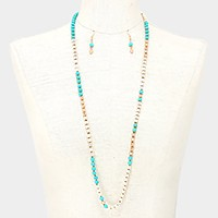 Color block turquoise bead strand necklace