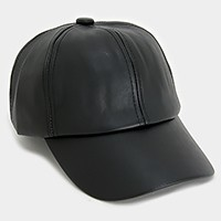 Solid faux leather baseball cap