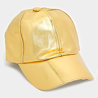Metallic faux leather baseball cap