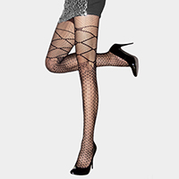 Faux leg wrap, bow detail pantyhose tights