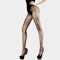 Leopard pattern net pantyhose tights