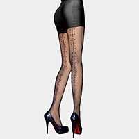 Backseam small circle detail pantyhose tights