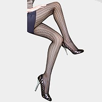 Striped chevron pattern pantyhose tights