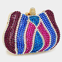 Crystal hard case clutch bag with metal chain strap