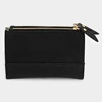 Saffiano Double zip bifold wallet