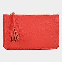 Tassel zip wide bifold wallet