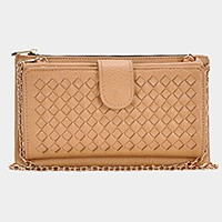 Lattice faux leather front wallet clutch bag