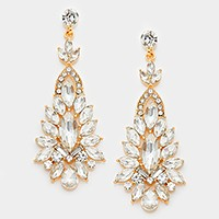 Marquise Crystal Rhinestone Cluster Statement Evening Earrings