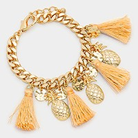 Multi-tassel & metal pineapple charm bracelet
