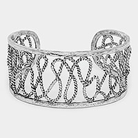 Twisted metal wire cage cuff bracelet