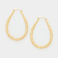 Textured metal teardrop hoop earrings