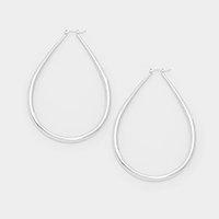 Metal teardrop hoop earrings