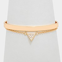 Double layer crystal triangle cuff bracelet