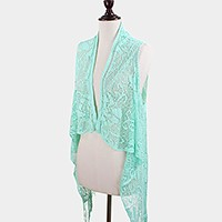 Draped crochet fringe sleeveless cardigan