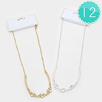 12 PCS - Crystal & curved metal bar necklaces