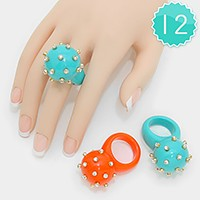 12 PCS - Crystal studded resin dome rings