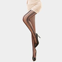 Vertical stripe side seam pantyhose tights