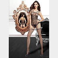 Strappy shoulder teddy thight-high body stockings
