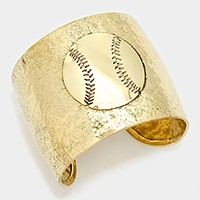 Hammered metal baseball ball cuff bracelet