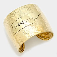 Tennessee State map Hammered Wide Metal Cuff Bracelet