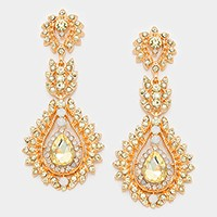 Floral Crystal Rhinestone Evening Earrings