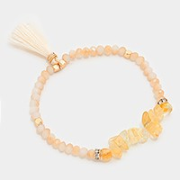 Tassel charm natural stone beaded stretch bracelet