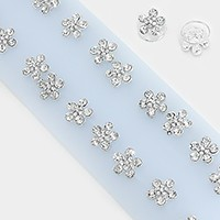 24 PCS - Crystal flower hair spiral coil pins
