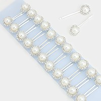 12 Sets - Crystal pearl flower hair bobby pins