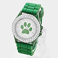Crystal trim paw dial jelly band watch