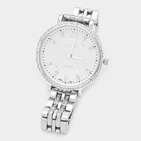 Crystal trimmed big face metal watch