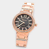 Crystal trimmed roman numeral dial oyster band watch