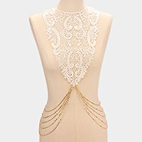 Floral lace bib body chain necklace