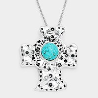 Magnetic metal turquoise cross pendant necklace