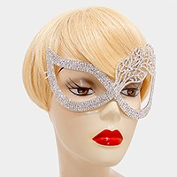 Leaf art deco crystal rhinestone cat eye mask
