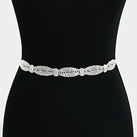 Crystal rhinestone ribbon sash belt