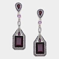 RECTANGLE RHINESTONE DROP EVENING EARRINGS